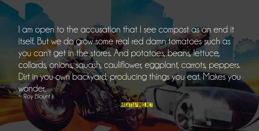 Blount's Sayings By Roy Blount Jr.: I am open to the accusation that I see compost as an end it itself.