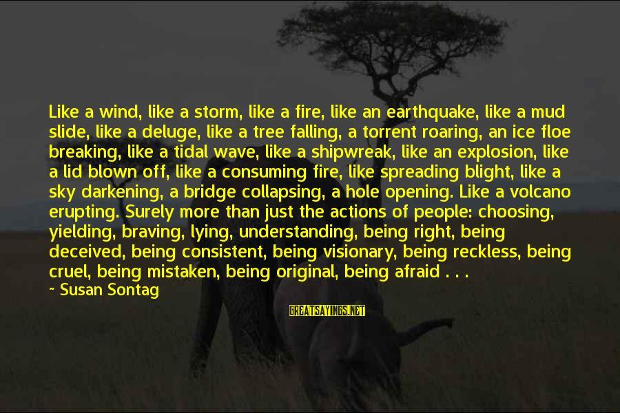 Blown Off Sayings By Susan Sontag: Like a wind, like a storm, like a fire, like an earthquake, like a mud