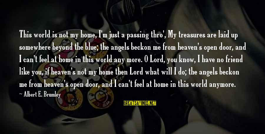 Blue Angels Sayings By Albert E. Brumley: This world is not my home, I'm just a passing thro', My treasures are laid