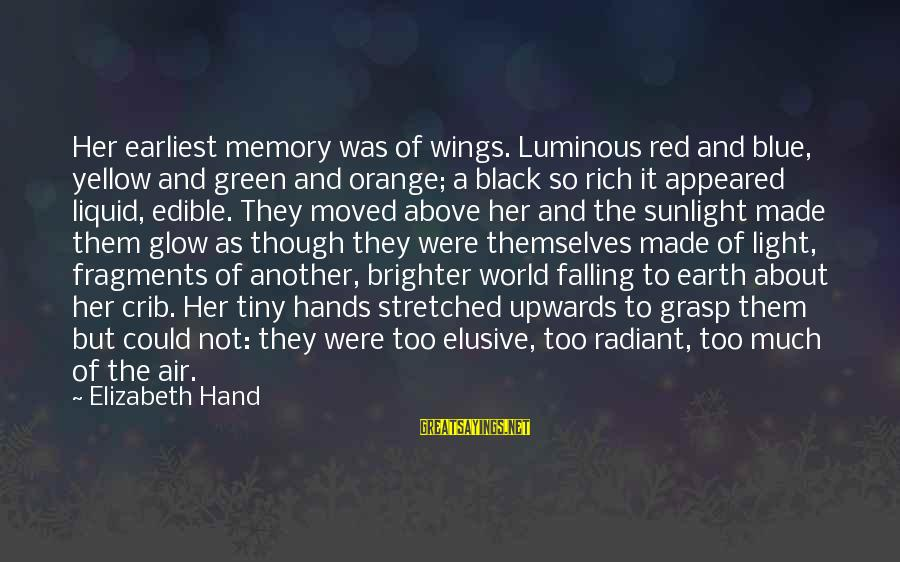 Blue Light Sayings By Elizabeth Hand: Her earliest memory was of wings. Luminous red and blue, yellow and green and orange;
