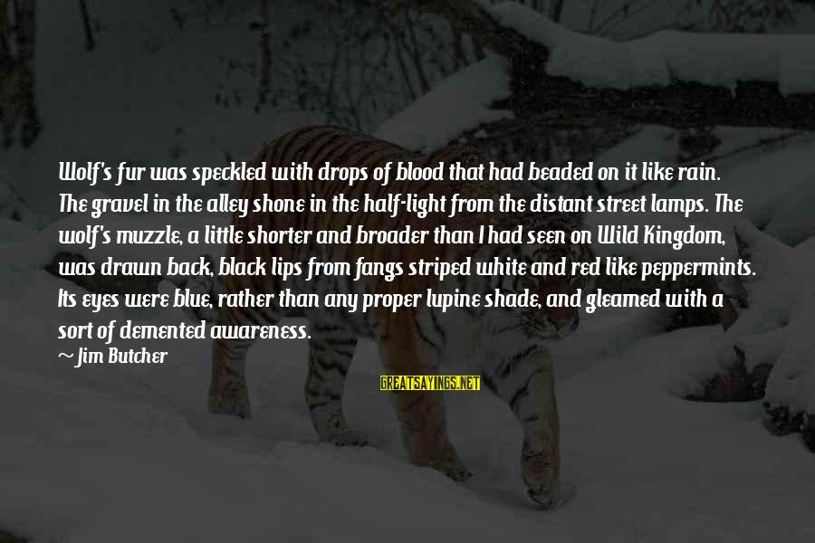 Blue Light Sayings By Jim Butcher: Wolf's fur was speckled with drops of blood that had beaded on it like rain.