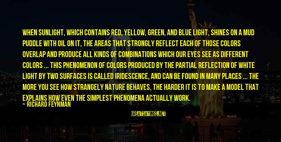 Blue Light Sayings By Richard Feynman: When sunlight, which contains red, yellow, green, and blue light, shines on a mud puddle