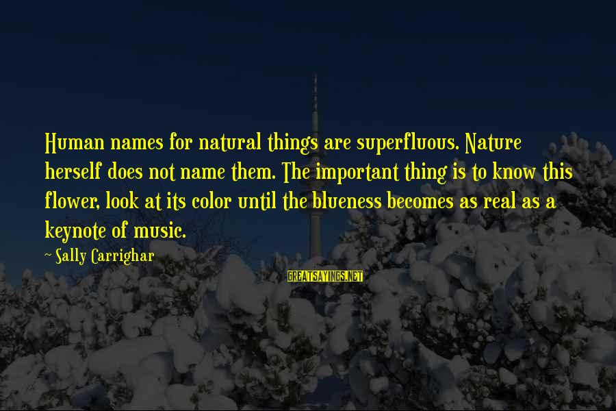 Blueness Sayings By Sally Carrighar: Human names for natural things are superfluous. Nature herself does not name them. The important