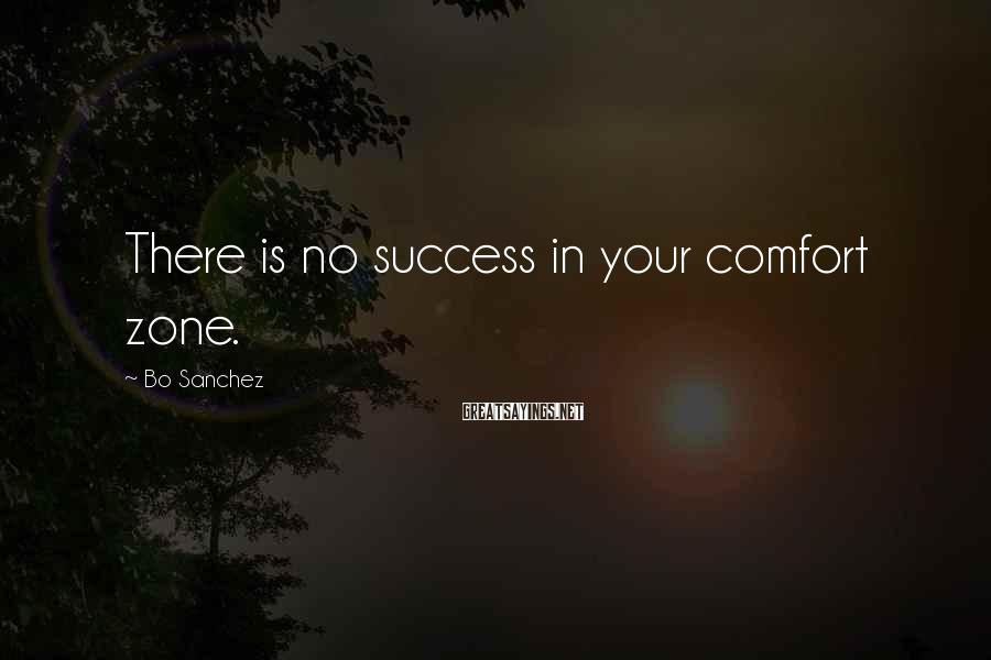 Bo Sanchez Sayings: There is no success in your comfort zone.