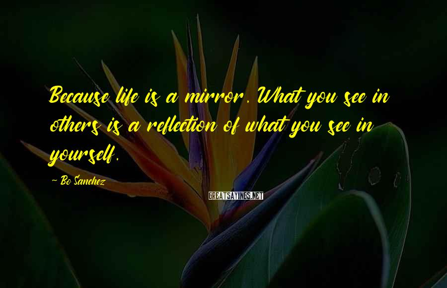 Bo Sanchez Sayings: Because life is a mirror. What you see in others is a reflection of what