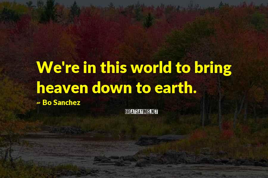 Bo Sanchez Sayings: We're in this world to bring heaven down to earth.