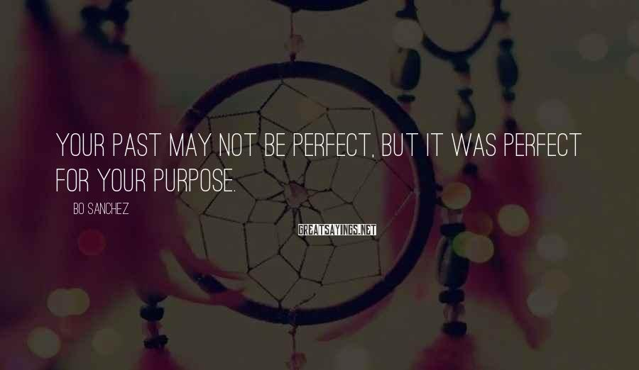 Bo Sanchez Sayings: Your past may not be perfect, but it was perfect for your purpose.