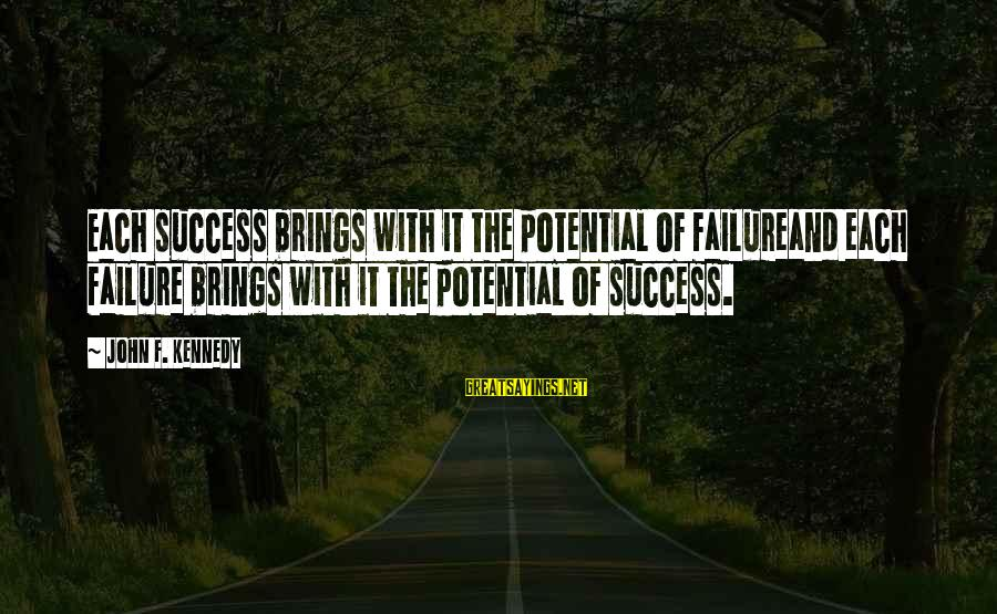 Boating Christmas Sayings By John F. Kennedy: Each success brings with it the potential of failureand each failure brings with it the