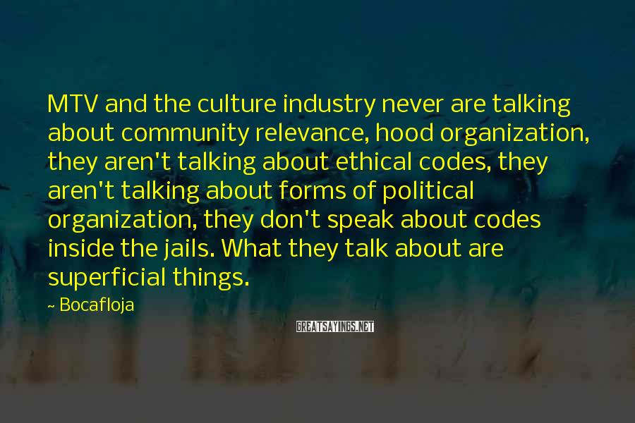 Bocafloja Sayings: MTV and the culture industry never are talking about community relevance, hood organization, they aren't