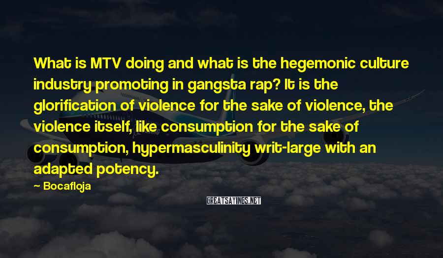Bocafloja Sayings: What is MTV doing and what is the hegemonic culture industry promoting in gangsta rap?