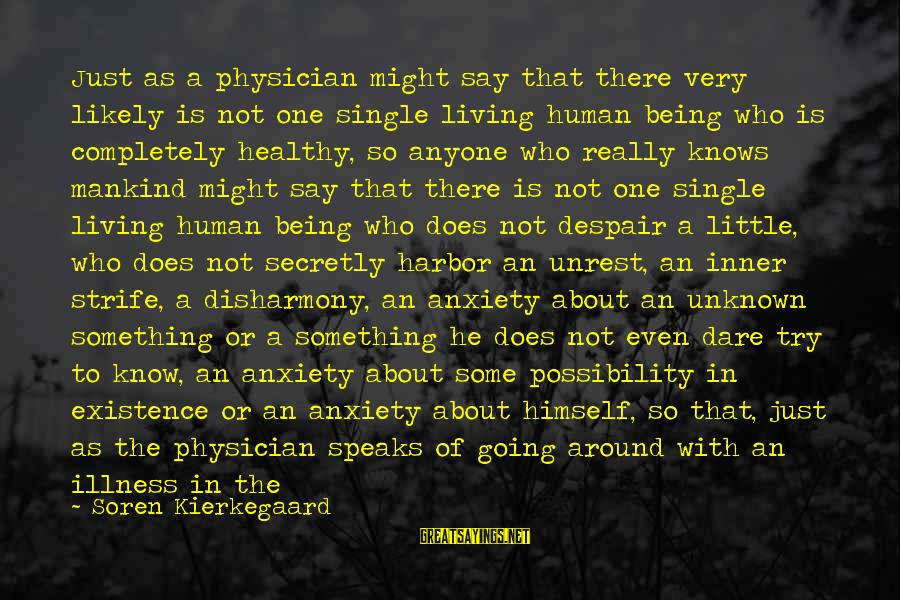 Body And Spirit Sayings By Soren Kierkegaard: Just as a physician might say that there very likely is not one single living