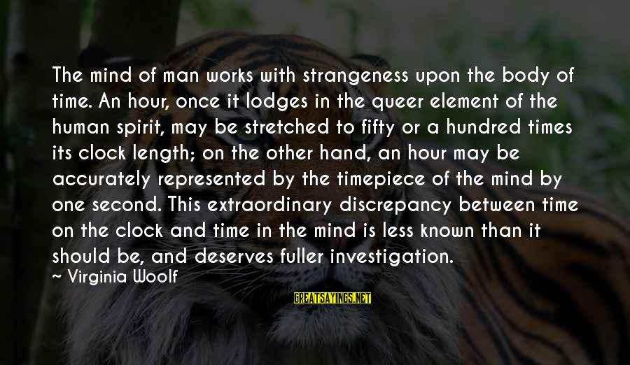 Body And Spirit Sayings By Virginia Woolf: The mind of man works with strangeness upon the body of time. An hour, once