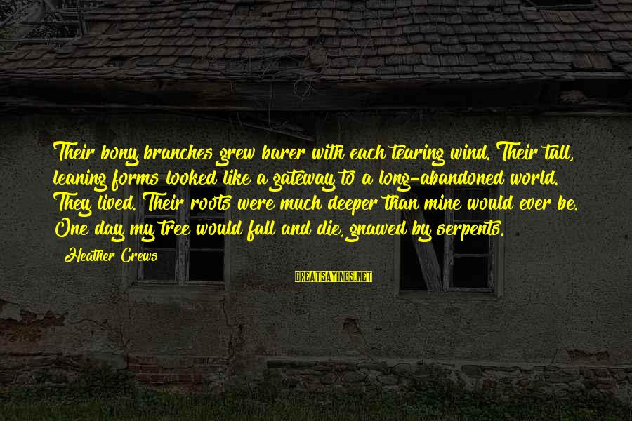 Bony Sayings By Heather Crews: Their bony branches grew barer with each tearing wind. Their tall, leaning forms looked like