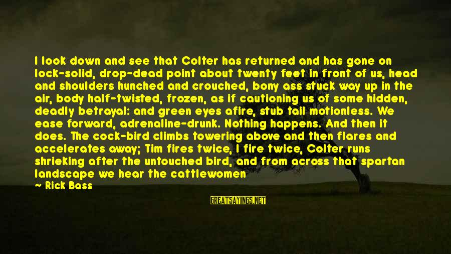 Bony Sayings By Rick Bass: I look down and see that Colter has returned and has gone on lock-solid, drop-dead
