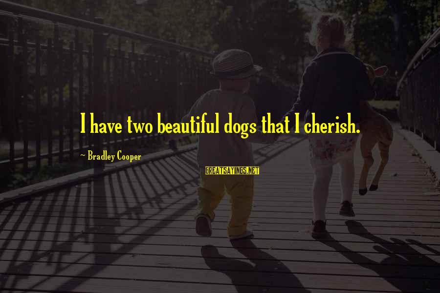 Boring And Sad Sayings By Bradley Cooper: I have two beautiful dogs that I cherish.