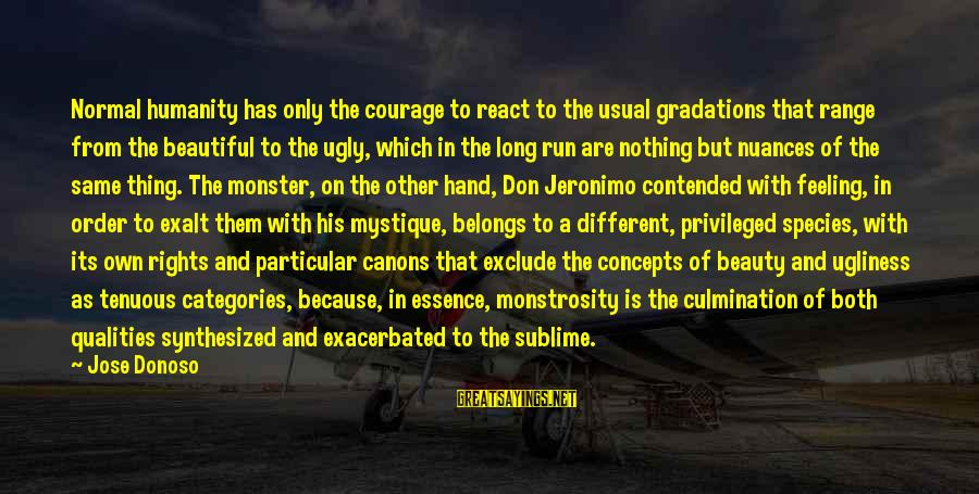 Both Are Beautiful Sayings By Jose Donoso: Normal humanity has only the courage to react to the usual gradations that range from