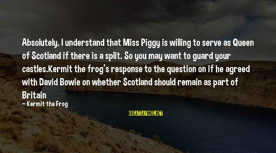 Bowie's Sayings By Kermit The Frog: Absolutely. I understand that Miss Piggy is willing to serve as Queen of Scotland if