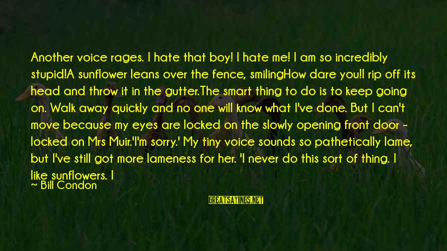 Boy Smiling Sayings By Bill Condon: Another voice rages. I hate that boy! I hate me! I am so incredibly stupid!A