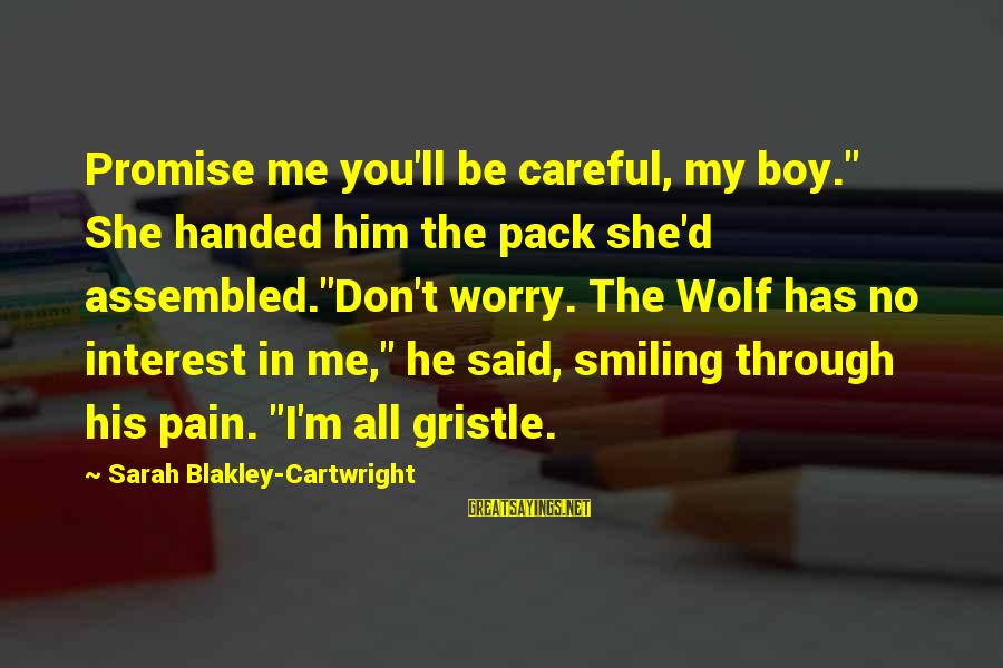 """Boy Smiling Sayings By Sarah Blakley-Cartwright: Promise me you'll be careful, my boy."""" She handed him the pack she'd assembled.""""Don't worry."""