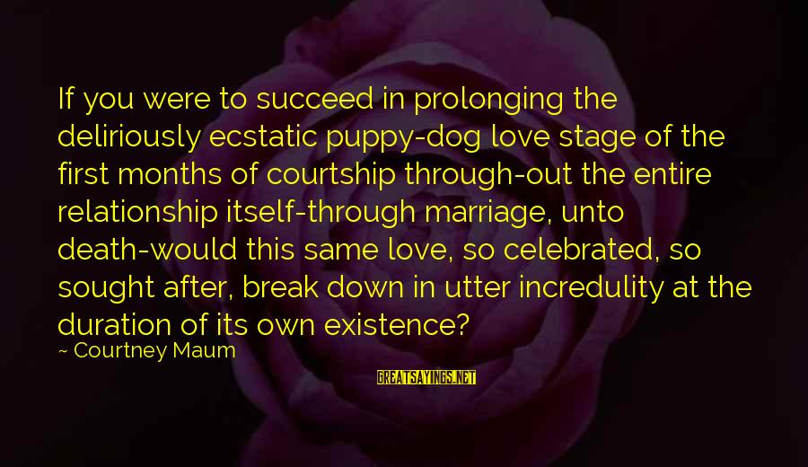 Break Up In A Relationship Sayings By Courtney Maum: If you were to succeed in prolonging the deliriously ecstatic puppy-dog love stage of the
