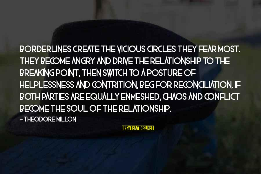 Break Up In A Relationship Sayings By Theodore Millon: Borderlines create the vicious circles they fear most. They become angry and drive the relationship