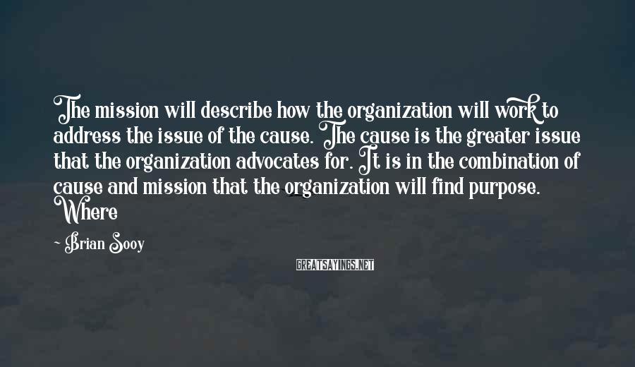 Brian Sooy Sayings: The mission will describe how the organization will work to address the issue of the