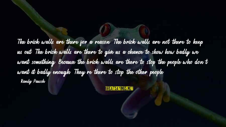 Brick Walls Randy Pausch Sayings By Randy Pausch: The brick walls are there for a reason. The brick walls are not there to