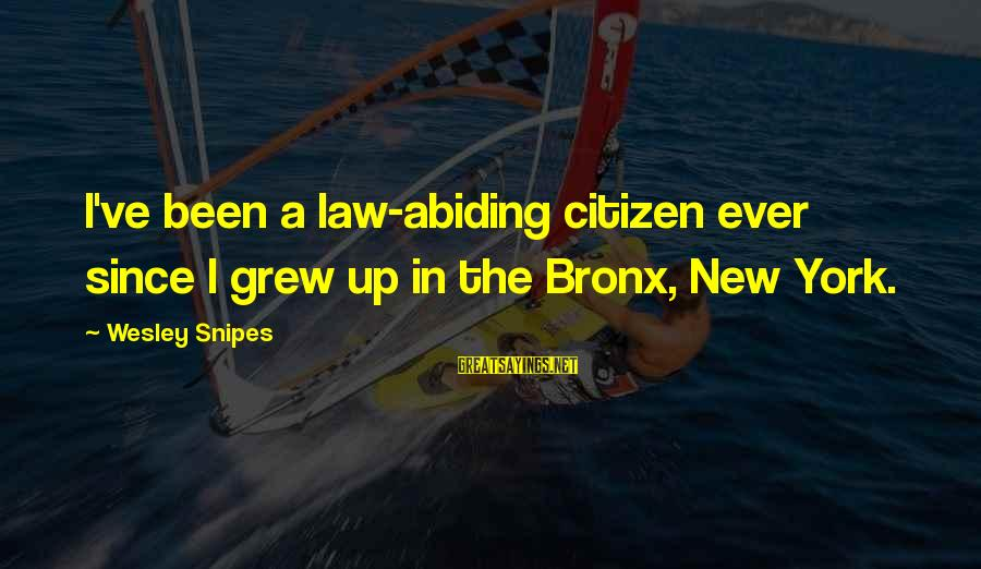 Bronx New York Sayings By Wesley Snipes: I've been a law-abiding citizen ever since I grew up in the Bronx, New York.