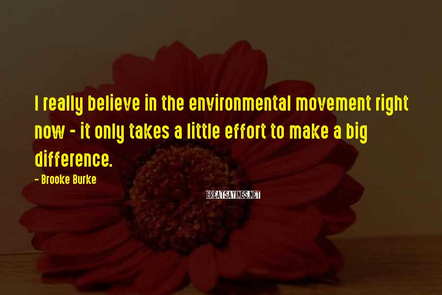 Brooke Burke Sayings: I really believe in the environmental movement right now - it only takes a little