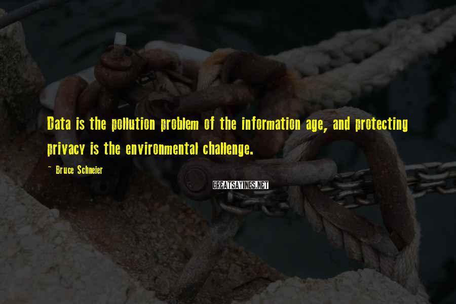 Bruce Schneier Sayings: Data is the pollution problem of the information age, and protecting privacy is the environmental