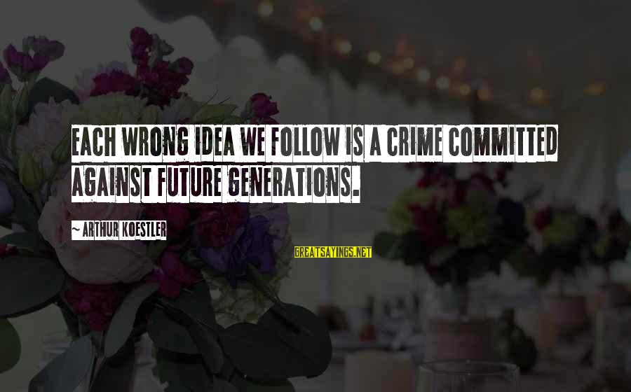 Buffalo Wild Wings Sayings By Arthur Koestler: Each wrong idea we follow is a crime committed against future generations.