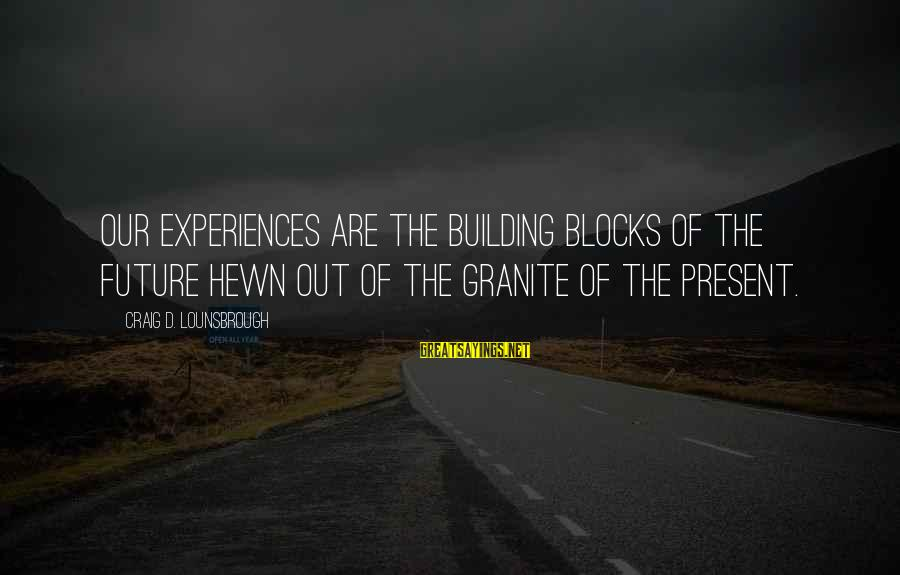 Building Blocks Sayings By Craig D. Lounsbrough: Our experiences are the building blocks of the future hewn out of the granite of