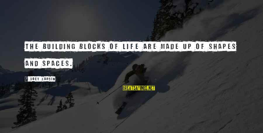 Building Blocks Sayings By Joey Lawsin: The building blocks of Life are made up of shapes and spaces.