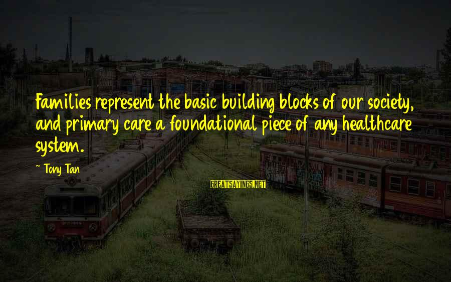 Building Blocks Sayings By Tony Tan: Families represent the basic building blocks of our society, and primary care a foundational piece