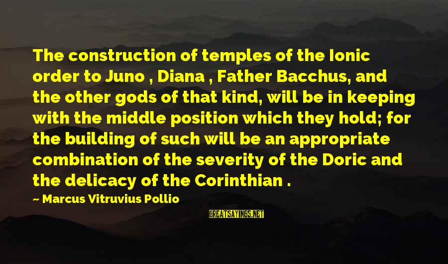Building Construction Sayings By Marcus Vitruvius Pollio: The construction of temples of the Ionic order to Juno , Diana , Father Bacchus,