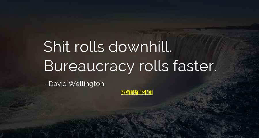 Buon Appetito Sayings By David Wellington: Shit rolls downhill. Bureaucracy rolls faster.
