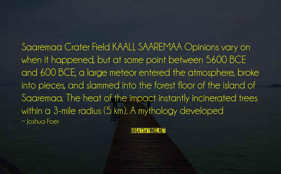 Burel Sayings By Joshua Foer: Saaremaa Crater Field KAALI, SAAREMAA Opinions vary on when it happened, but at some point