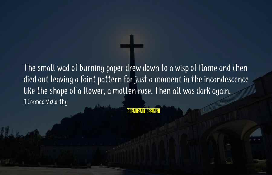Burning Out Sayings By Cormac McCarthy: The small wad of burning paper drew down to a wisp of flame and then