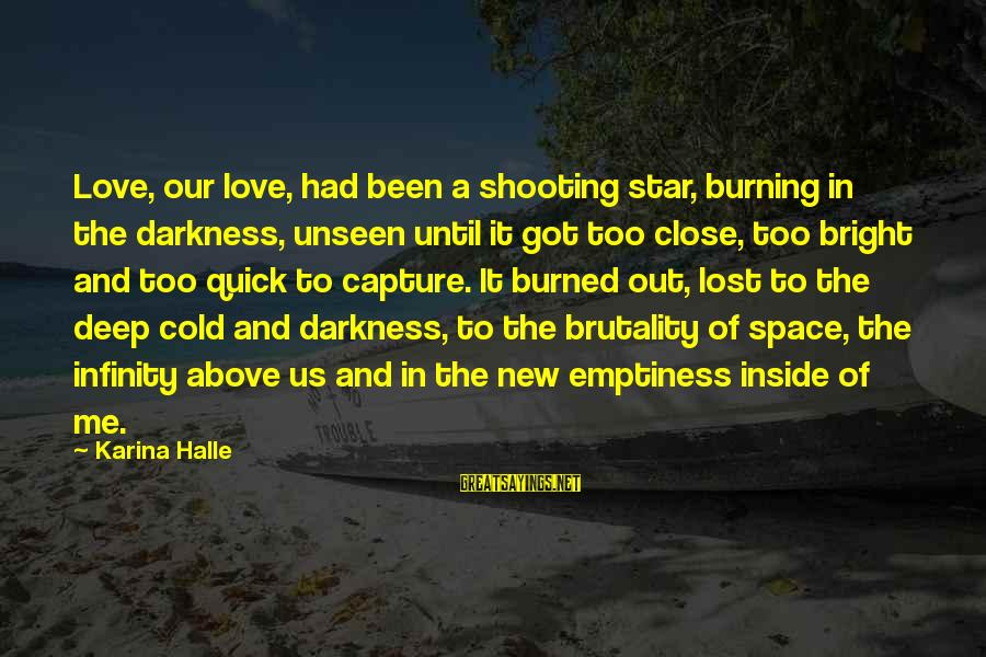 Burning Out Sayings By Karina Halle: Love, our love, had been a shooting star, burning in the darkness, unseen until it