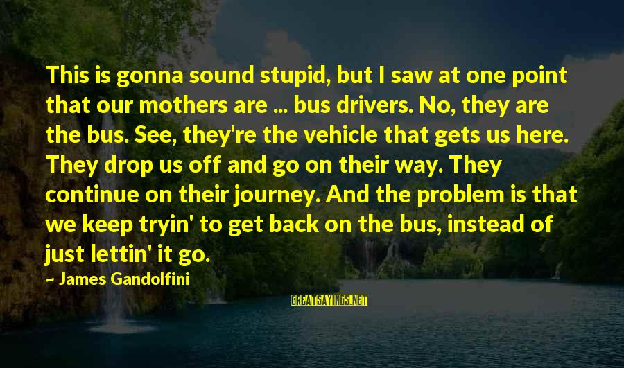 Bus Drivers Sayings By James Gandolfini: This is gonna sound stupid, but I saw at one point that our mothers are