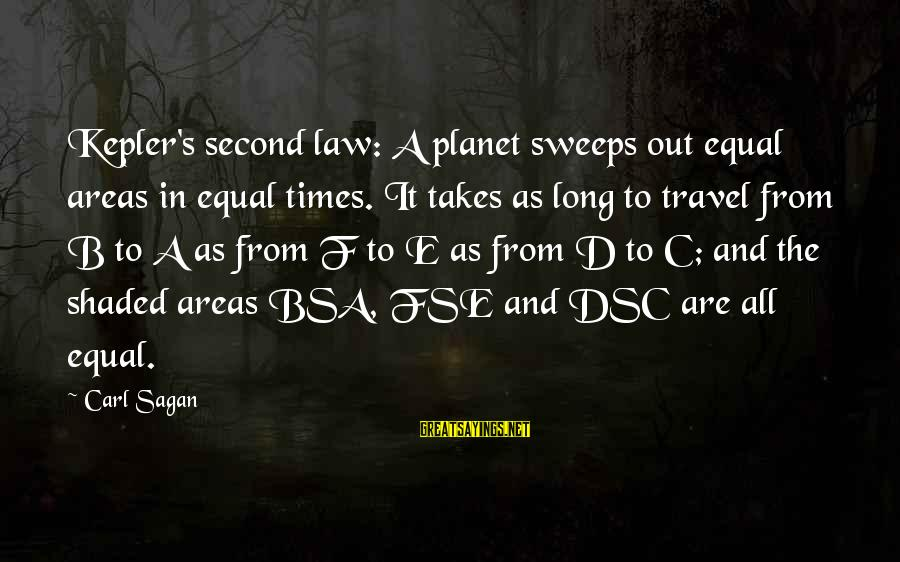 C.e. D'oh Sayings By Carl Sagan: Kepler's second law: A planet sweeps out equal areas in equal times. It takes as