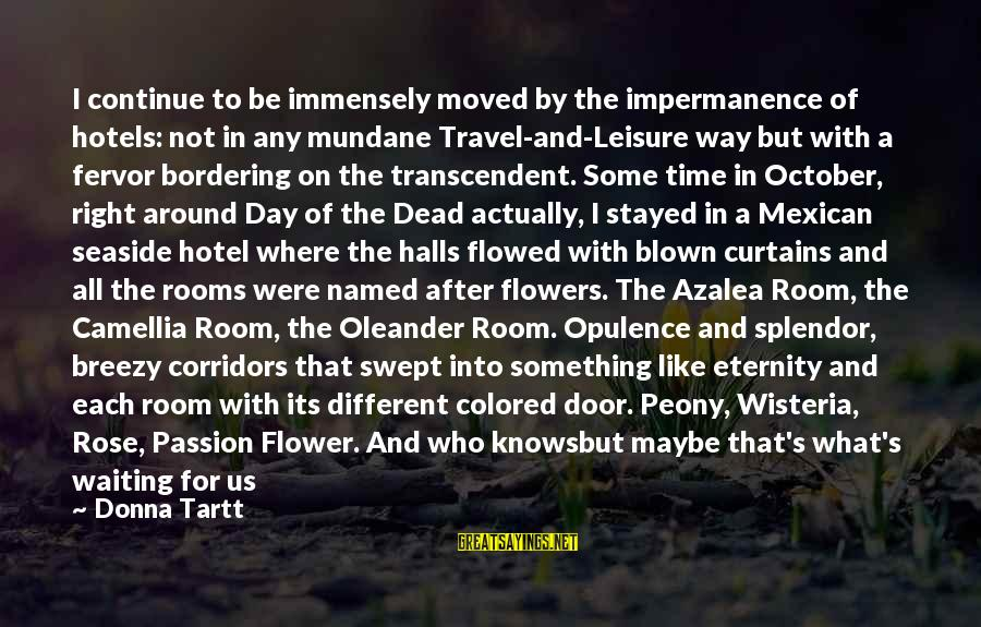 Camellia Sayings By Donna Tartt: I continue to be immensely moved by the impermanence of hotels: not in any mundane