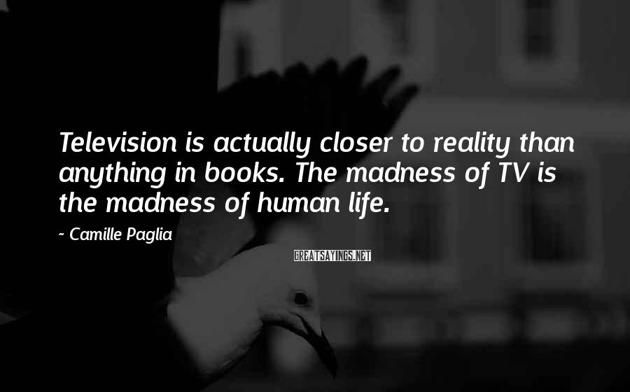 Camille Paglia Sayings: Television is actually closer to reality than anything in books. The madness of TV is
