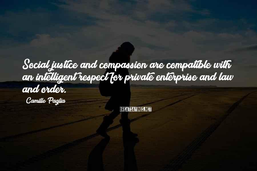Camille Paglia Sayings: Social justice and compassion are compatible with an intelligent respect for private enterprise and law