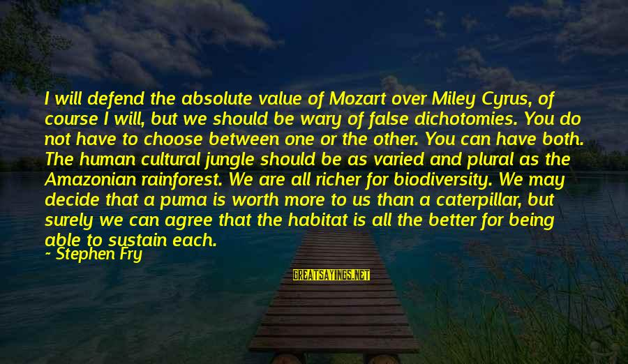 Can Decide Sayings By Stephen Fry: I will defend the absolute value of Mozart over Miley Cyrus, of course I will,