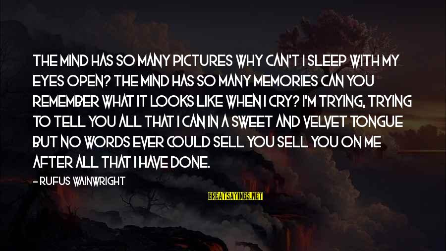 Can't Sleep With You On My Mind Sayings By Rufus Wainwright: The mind has so many pictures Why can't I sleep with my eyes open? The