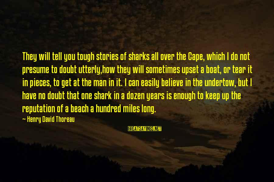 Cape Cod Beach Sayings By Henry David Thoreau: They will tell you tough stories of sharks all over the Cape, which I do