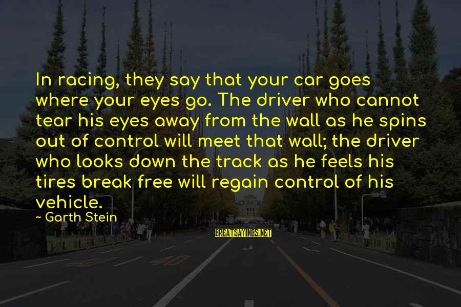 Car Driver Sayings By Garth Stein: In racing, they say that your car goes where your eyes go. The driver who