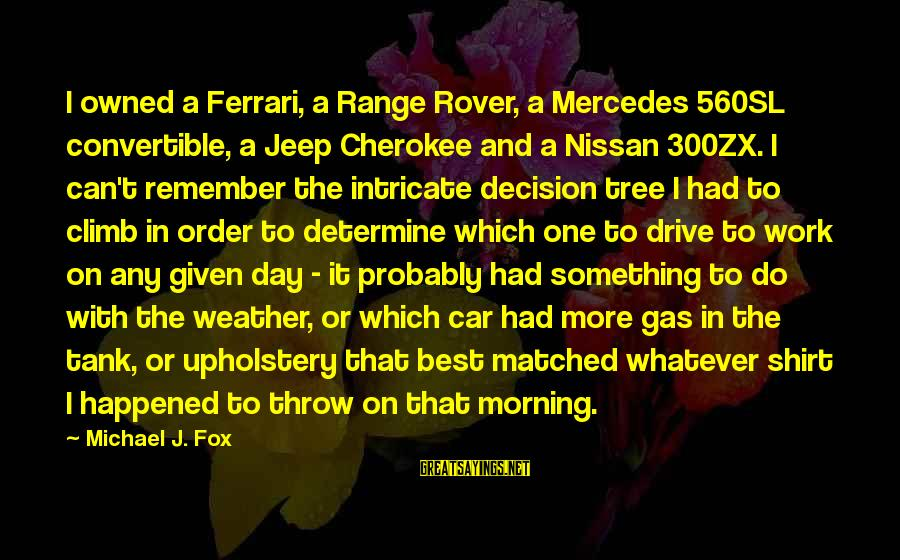 Car Gas Sayings By Michael J. Fox: I owned a Ferrari, a Range Rover, a Mercedes 560SL convertible, a Jeep Cherokee and
