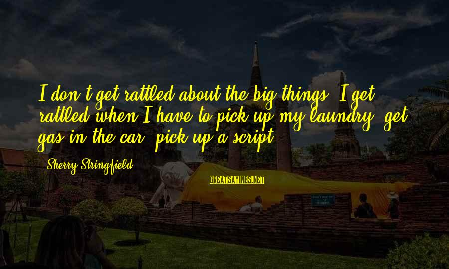 Car Gas Sayings By Sherry Stringfield: I don't get rattled about the big things. I get rattled when I have to